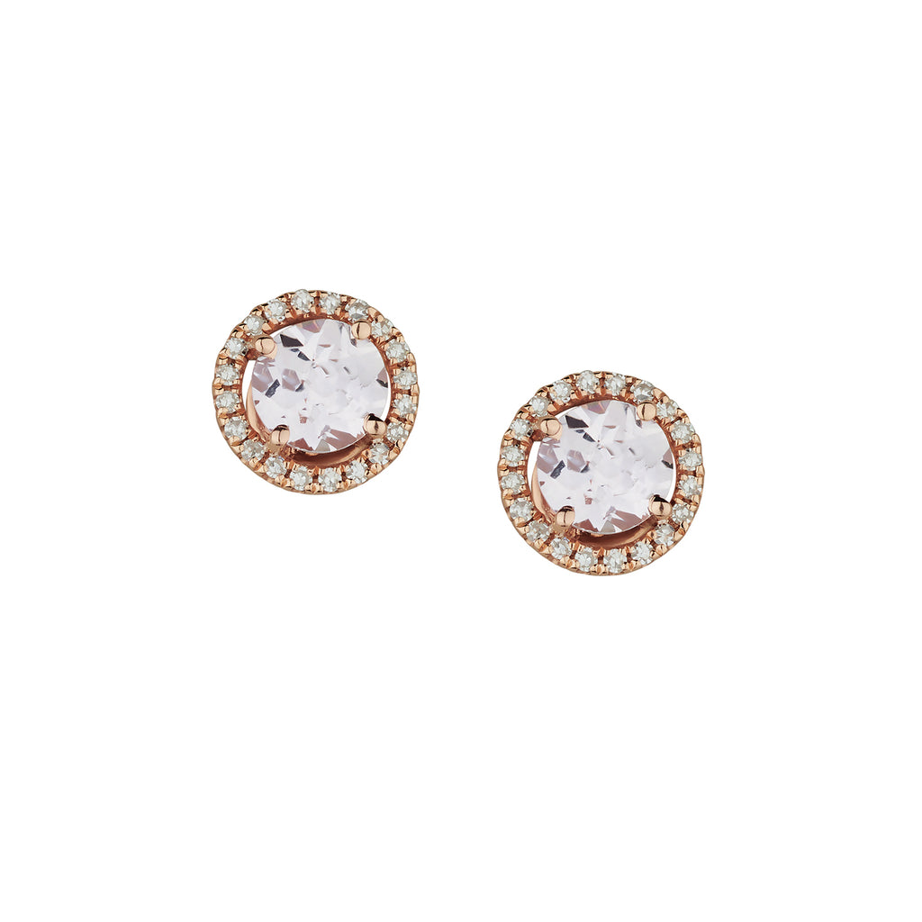 MORGANITE & DIAMOND HALO STUDS