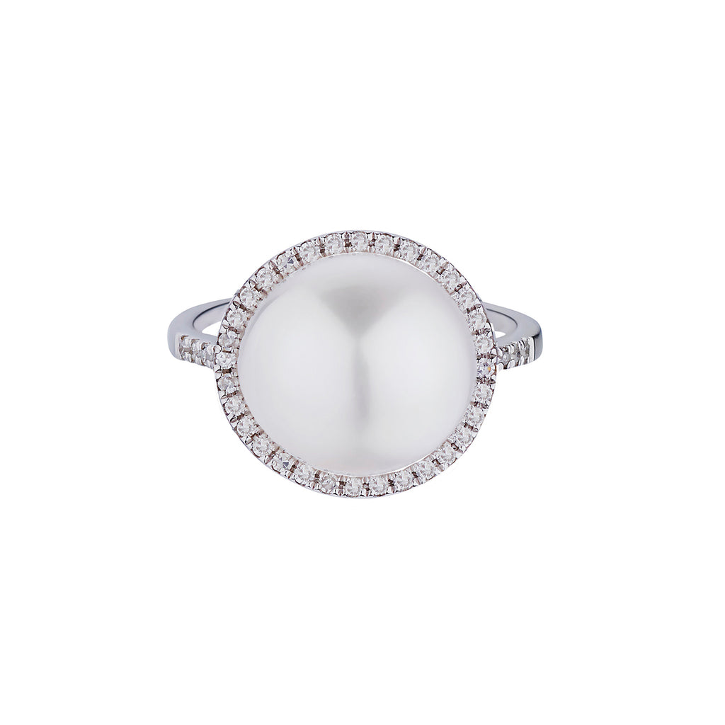 PEARL & DIAMOND HALO RING
