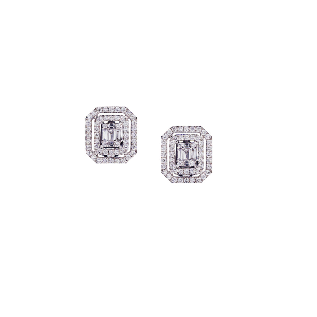 BAGUETTE AND DOUBLE DIAMOND FRAME STUD EARRINGS