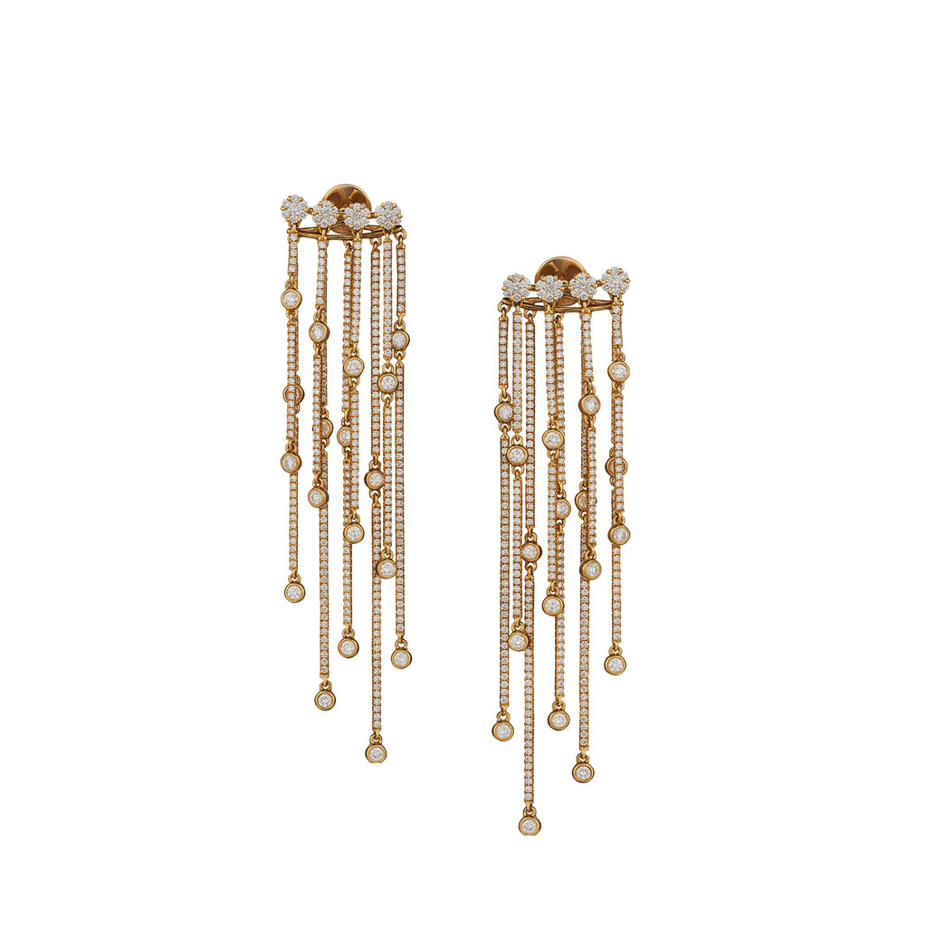DIAMOND DOUBLE FRINGE DROP EARRINGS