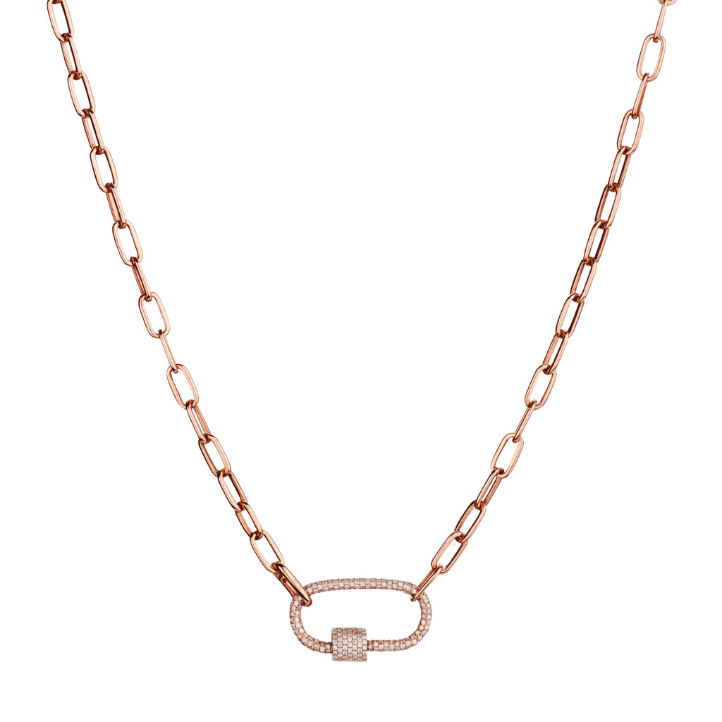 PAPERCLIP CHAIN WITH PAVÉ DIAMOND CARABINER