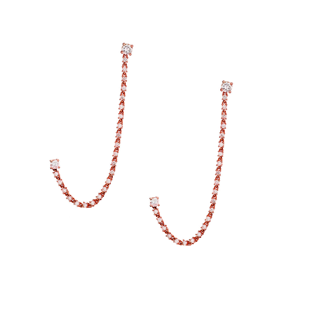 DOUBLE DIAMOND CHAIN EARRINGS