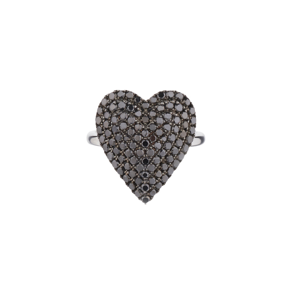 BLACK DIAMOND TIERED HEART RING