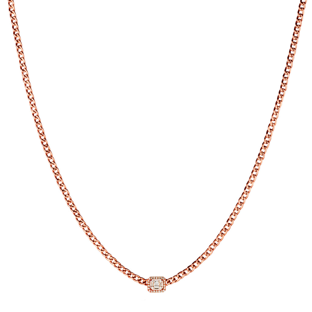 BAGUETTE DIAMOND CURB LINK NECKLACE