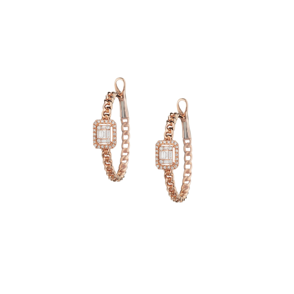 BAGUETTE DIAMOND CURB LINK EARRINGS