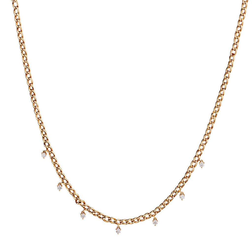 DIAMOND SPRINKLE CURB LINK NECKLACE