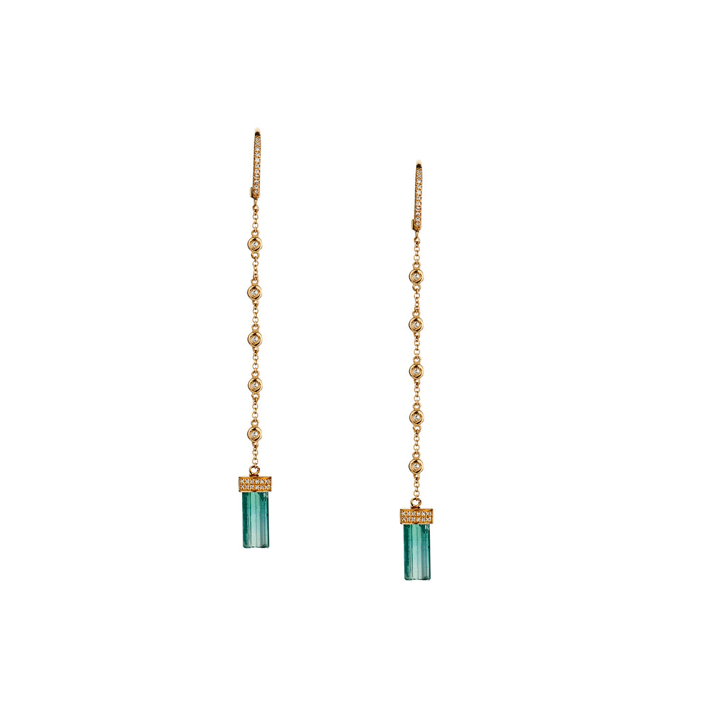 BEZEL SET DIAMOND CHAIN & GREEN TOURMALINE EARRINGS