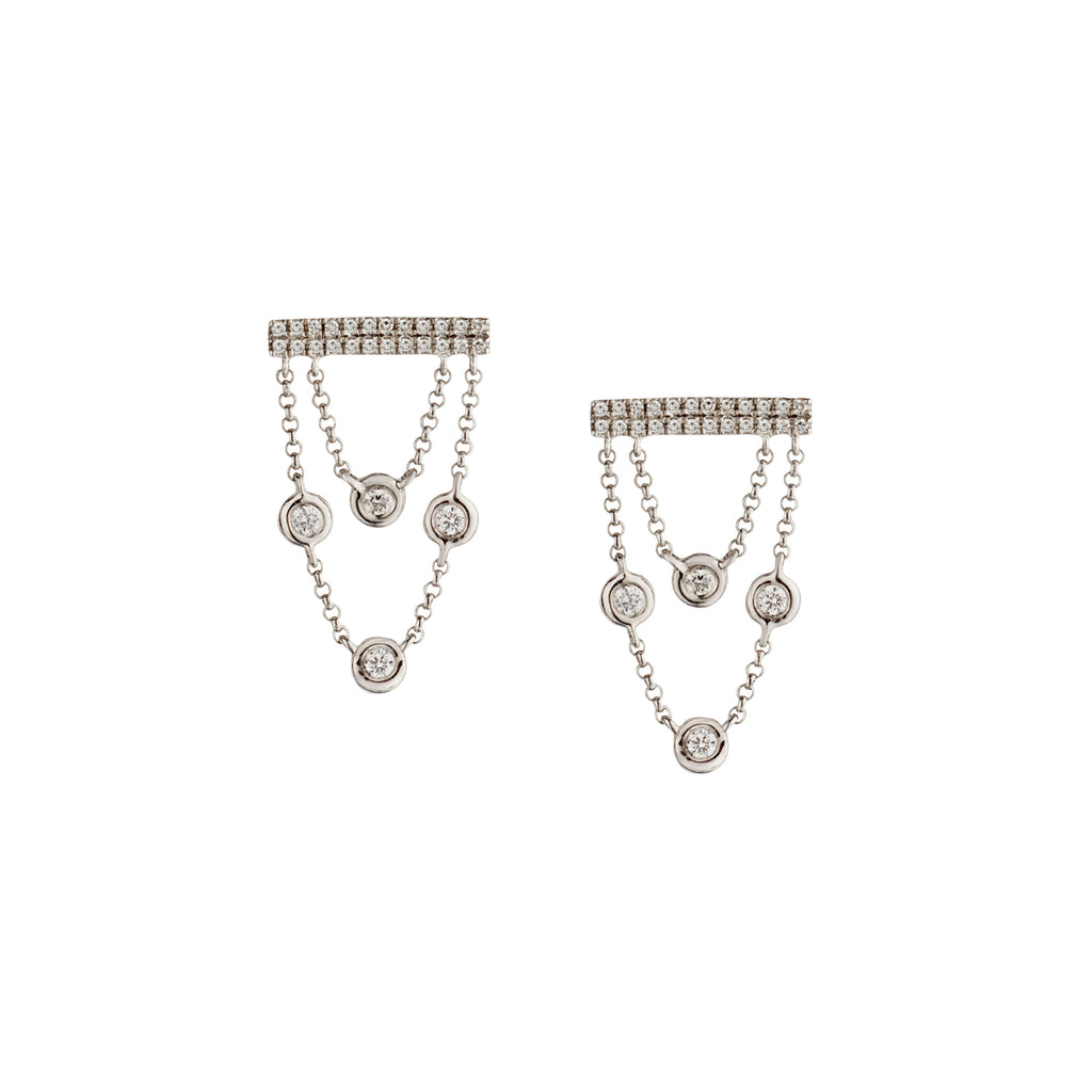 BEZEL SET DIAMOND CHAIN EARRINGS
