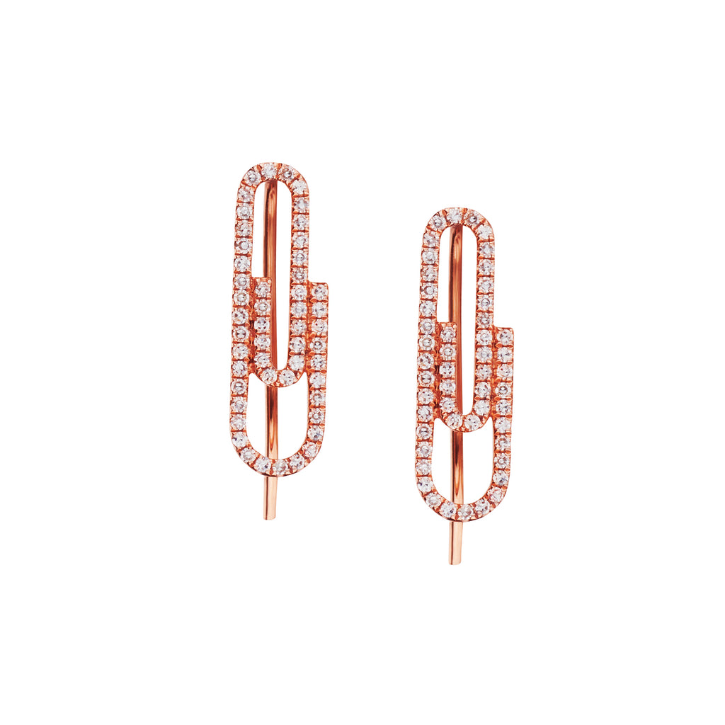 DIAMOND PAPERCLIP EARRINGS