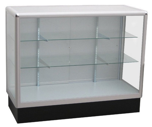 two shelf glass aluminium fornt desk sales counter for retail stores
