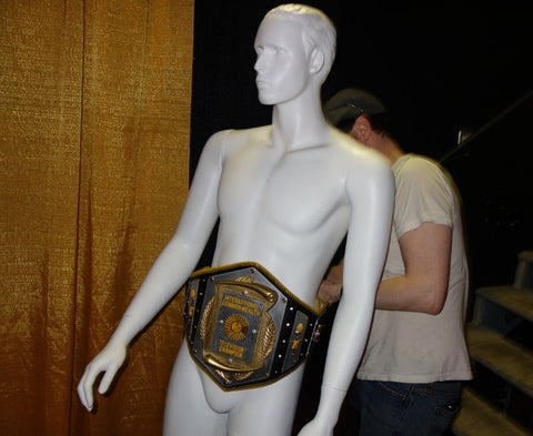 Hogtown Wrestling TV Title Belt on plastic mannequin