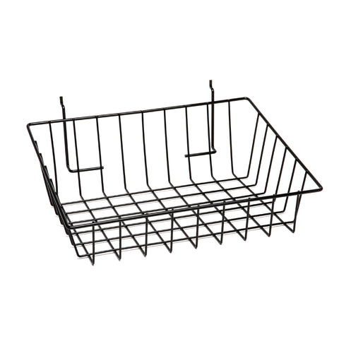 12''L x 12''W x 3''H slant front basket for slatwall and pegboard, slatgrid.