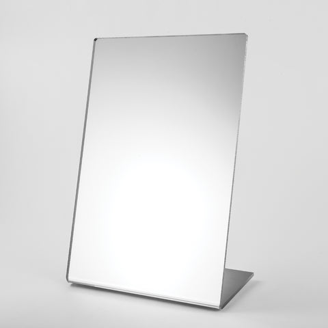 12 x 18 - inch floor mirror with chrome metal frame.