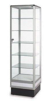 6' high aluminum tower display showcase, glass case, display cabinets