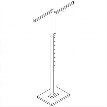 Square tube 2 way rack with 2 straight arms