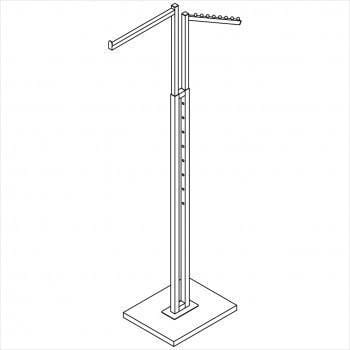 Clothes rack - Square tube 2 way rack with one straight arm, one slant arm with 8 balls chrome