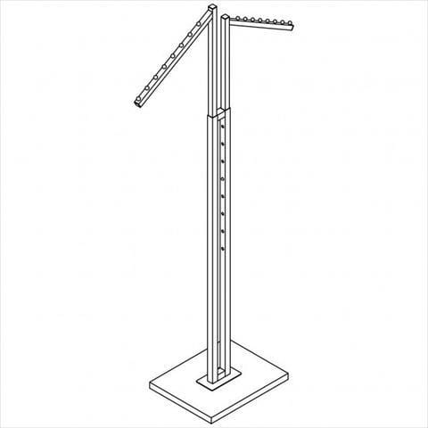 Clothes rack - Square tube 2-way rack with 2x18 - inch slant arm with 8 balls