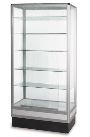 6' high aluminum tower display showcase, glass showcase, glass cabinet display--- AL6