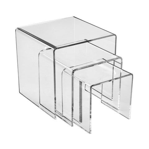 "Plexi shoe riser set 4"", 6"" & 8"" high."