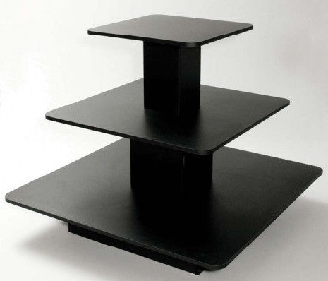 3 tier square table black