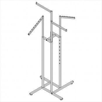 Clothes rack - Square tube 4 way rack with 2 straight arms and 2 slant arms chrome