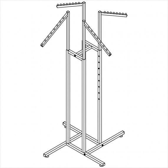 "Square tube 4 way rack with 4 Slant arms 18"" long with 8 balls"