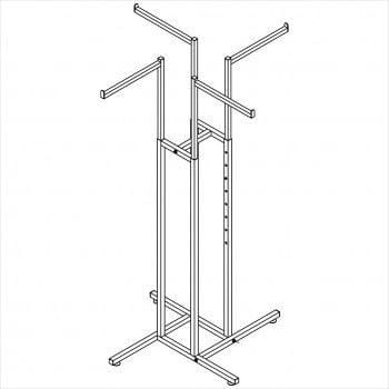 Clothes rack - Square tube 4 way rack chrome
