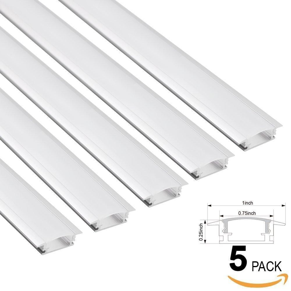 U-Shaped Aluminum Channel for Flush Mount, With Frosted White Diffuser Covers ---C5095
