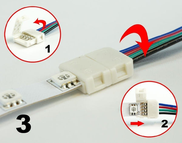 Single End LED Strip Connector for IP30 5050 LED RGB Color Strip Lights ---C5033
