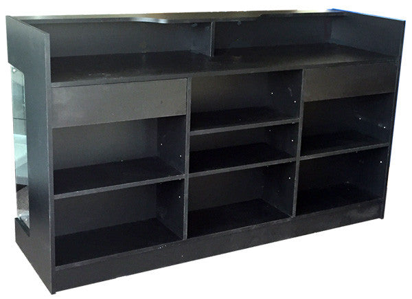 "Retail Counter With Showcase In Black -  72"" L x 22"" W x 42"" H - Back View"