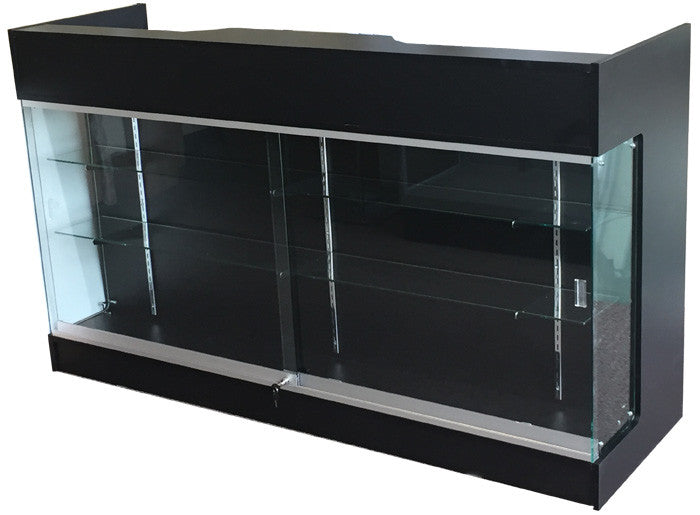 "Retail Counter With Showcase In Black -  72"" L x 22"" W x 42"" H"