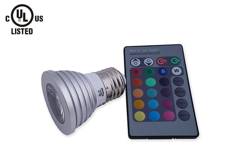 LED PAR16 Spot Light, RGB, 16 Colors, 3W, With Wireless Controller ---C2135