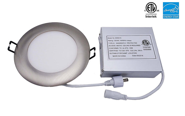 LED Slim Panel, 4 inch Brushed Nickel Trim, 10W, Dimmable ---C6061
