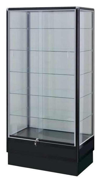 Glass Display Cabinet Showcases: Black Electrophoresis Aluminum 6-foot High Glass Display