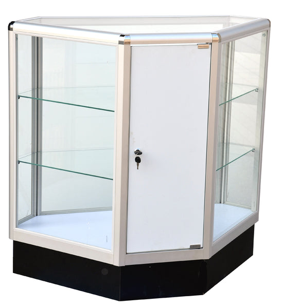 Display Cabinet Canada Hexagonal With Aluminum Frame - 20 W x 20 D x 12 D x 38 H - Inch