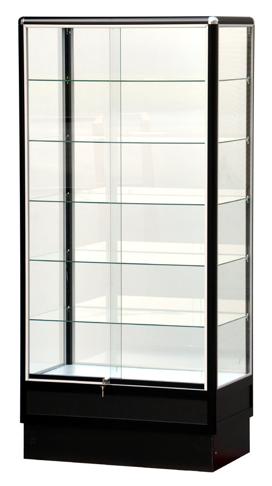 Glass Cabinet With Black Electrophoresis Aluminum Frame - 72 x 34 x20 - Inch