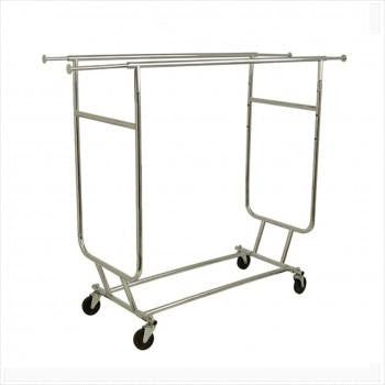 Garment rack - Heavy duty collapsible double hangrail salesman rolling rack chrome