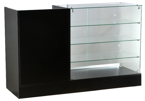 Frameless glass display case with 24 - inch cash register stand 60 X 20 X 38 - inch, 2pcs of 16 - inch glass shelves, 6mm tempered glass