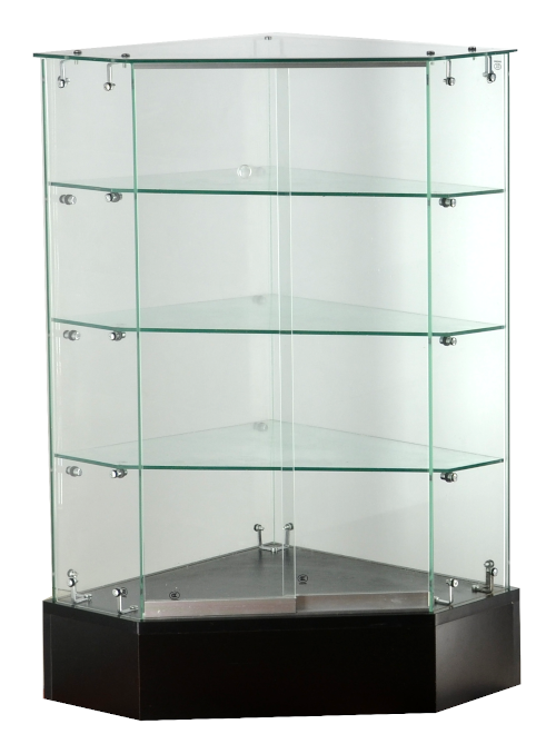 Frameless glass showcase - Corner display case with lock,  20 X 20 X 38 - inch, 6mm tempered glass, 3 glass shelves