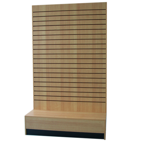 Freestanding Slatwall Unit Maple In L Shape - 48 L  x 20 D x 80 H x 6 B - Inch
