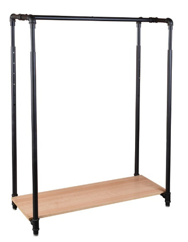 Garment rack with wood base
