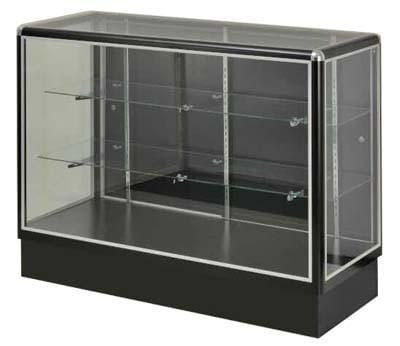 Glass Display With  Tempered Glass And Black Electrophoresis Aluminum Frame In Full Vision - 48 x 38 x20 - Inch