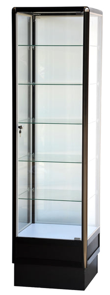 Standing Display Case With Aluminum Frame In Black Electrophoresis - 72 x 20 x20 - Inch