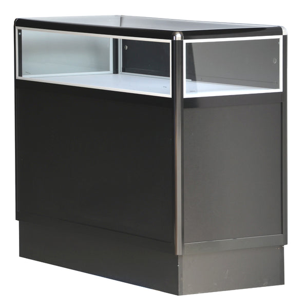 Glass Displays Cases With Aluminum Frames For Jewelry In Black Electrophoresis - 48 x 38 x 20 - Inch Back View