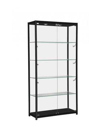 Glass Display Cabinet with Lights - Black