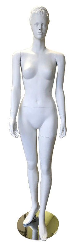 Female fiber glass standing white mannequin with head