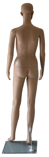 Manikin Female Back View, Plastic, Unbreakable Skin Tone with Glass Base. Height: 68, Chest:32, Waist:24, Hip: 33-Inch.