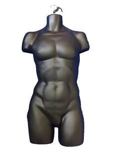 Male Mannequin Torso Black With Hook