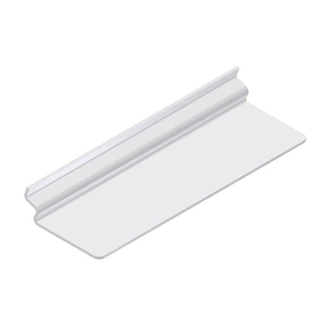 Plexi shoe shelf for slatwall, 10L x 4W.