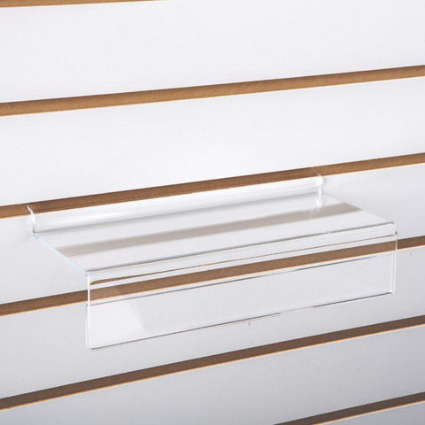 "Plexi shoe shelf for slatwall with 2"" sign lip, 10""L x 4""W."